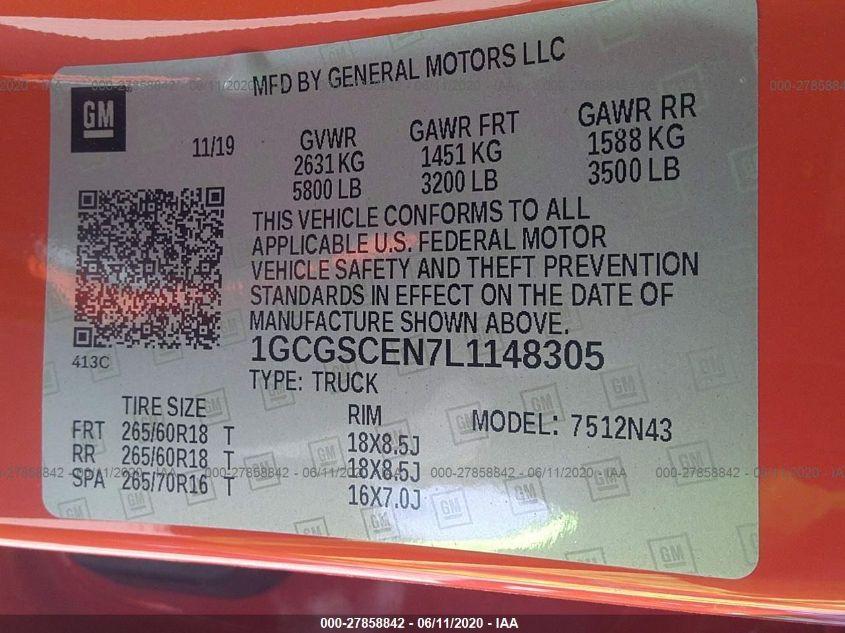 2020 Chevrolet COLORADO | Vin: 1GCGSCEN7L1148305