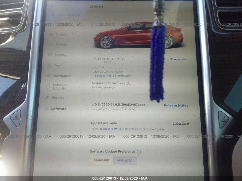 2014 Tesla MODEL S   Vin: 5YJSA1H11EFP50914
