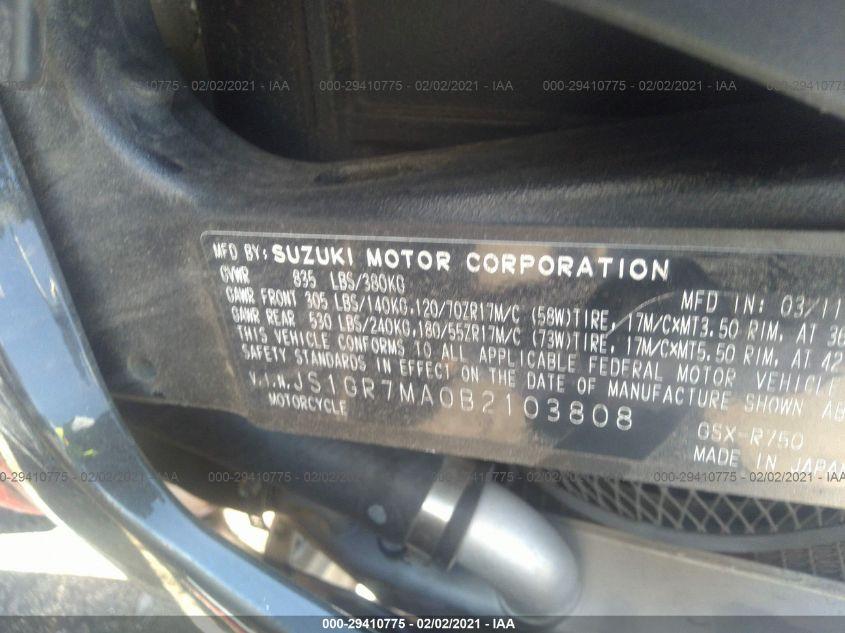 2011 Suzuki GSX750 | Vin: JS1GR7MA0B2103808
