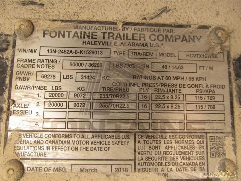 2019 FONTAINE TRAILER CO  | Vin: 13N2482A8K1529013
