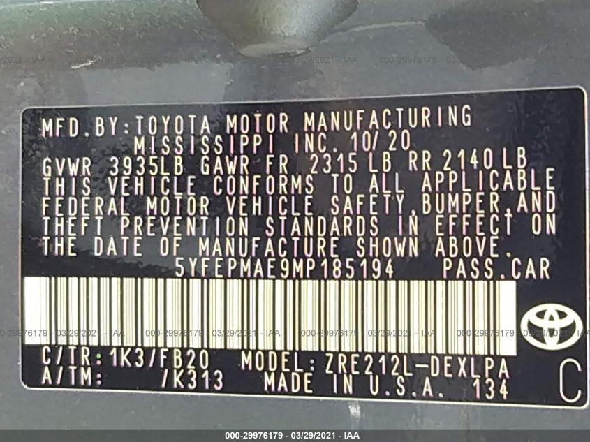 2021 Toyota COROLLA   Vin: 5YFEPMAE9MP185194