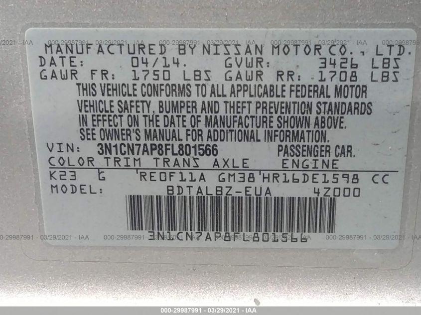 2015 Nissan VERSA   Vin: 3N1CN7AP8FL801566
